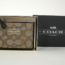 Coach Signature Mini Skinny Card Case Key Wallet Khaki Brown 55918 Boxed New Nwt Photo