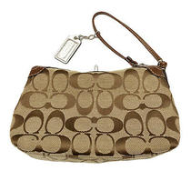 Coach Signature Monogram Canvas Clutch Brown Color Photo