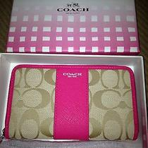 Coach Signature Nwt Large Wristlet Includes Coach Gift Box Photo