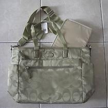 Coach Signature Nylon Baby Diaper Bag Tote Sage F77577 - Nwt Photo
