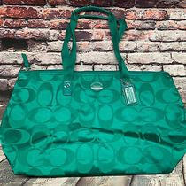 Coach Signature Nylon Packable Travel  Weekender Tote Bag F77321 Green Photo