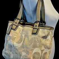 Coach Signature Optic C Gray Jacquard Carry-All Shoulder Purse Bag Euc Photo