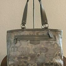 Coach Signature Optic C Gray Jacquard Carry-All Tote Shoulder Purse Bag F15121 Photo