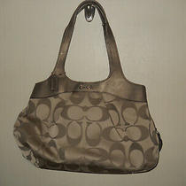 Coach Signature Optic Lexi Khaki/copper Shoulder Bag Pink Satin L1120-F18828 Photo
