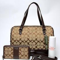 Coach  Signature Parker  Khaki/mahogany Handbag With Wallet Photo