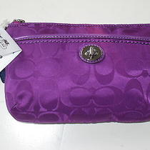 Coach Signature Parker Violet Medium Wristlet Bag 51802 Gift Box Gift Bag Nwt Photo