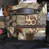 Coach Signature Patchwork Leather Tote Purse Bag & Matching Wristlet Photo