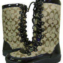 Coach Signature Peggey Khaki Logo Snow Boots 6 New Photo