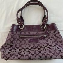 Coach Signature Penelope Shopper Shoulder Bag Purple Handbag Purse Photo