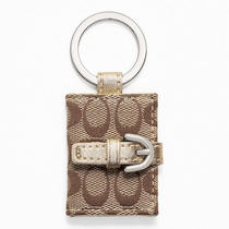 Coach Signature Picture Frame Key Ring Style F61848 Sv/khaki/metallic Photo