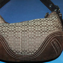 Coach Signature Print/chocolate Brown Suede Hobo Photo