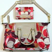 Coach Signature Print Pink and Burgundy Grey Leather Handbag Wallet Purse Set Photo
