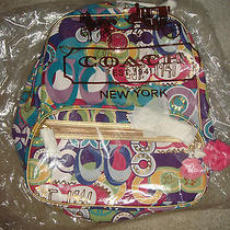Coach  Signature Print Poppy Sister Print Backpack Pop C F19432 Photo