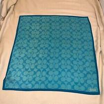 Coach Signature Print Turquoise Teal Silk Blend 17x17 Square Scarf Handkerchief Photo