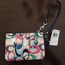 Coach Signature Print Wrist Zipper Purse Bag Authentic New W/tag Photo