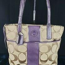 Coach Signature Purple Stripe Tote/shoulder Bag Beige and Purple Pre-Owned Photo