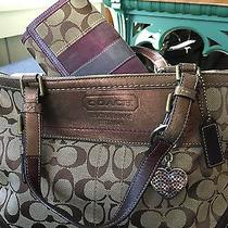 Coach Signature Purse With Wallet and Keychain Bronze Purple Photo