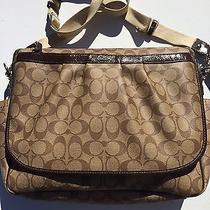 Coach Signature Pvc Coated Canvas Crossbody Messenger Baby Diaper Bag 18373 Photo