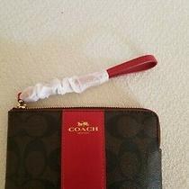 Coach Signature Pvc/leather Corner Zip Wristlet (Brown/red) -Nwt (F58035) Photo