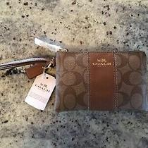 Coach Signature Pvc Leather Corner Zip Wristlet F54629 Photo
