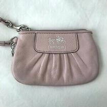 Coach Signature Pvc Leather Corner Zip Wristlet - Small Purple Photo