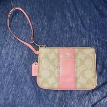 Coach Signature Pvc Leather Zip Wristlet in Dusty Rose and Tan Photo