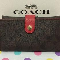 Coach Signature Pvc Phone Clutch Wallet Iphone 7 Brwon Red F53975 Nwt 95 Photo