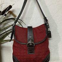 Coach  Signature Red Brown G3k-6376 Messenger Shoulder Crossbody Bag Photo