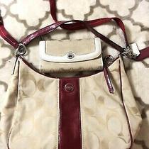 Coach Signature Red Tan Handbag & Wallet Photo