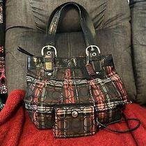 Coach Signature Red White and Black Plaid Handbag Purse With Matching Wristlet Photo