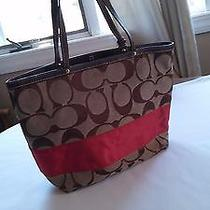 Coach Signature Reversible Gallery Tote Brown/ Orange Photo