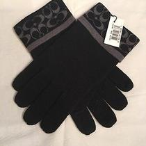 Coach Signature Scarf and Gloves Black/gray Cashmere Blend 2pc Photo