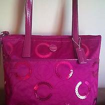 Coach Signature Sequin Sateen Tote Passion Berry Pink Purple F25470 Photo