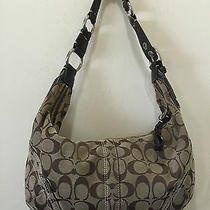 Coach Signature Shoulder Bag Canvas & Leather 10601 Brown Price Marked Down Photo
