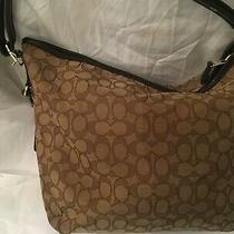 Coach Signature Shoulder Bag   Handbag  Belt Handles Zip Canvas Photo