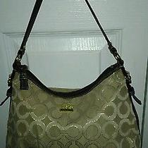 Coach Signature Shoulder Bag Tan and Brown Photo