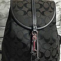 Coach Signature Small Black Jacquard Backpack 6613 Photo