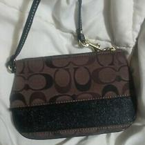 Coach Signature Small Brown Canvas With Leather Trim Wristlet Photo