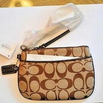 Coach Signature Small Wristlet in Khaki/mahogany.  New With Tags. Photo