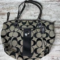 Coach Signature Strip Black/brown Denim Lg Hobo Handbag Purse F17948 16x11 Photo