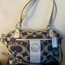 Coach Signature Strip Black/gray Denim Lg Satchel Hobo Shoulder Bag F17948 Photo
