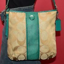 Coach Signature Stripe Beige Teal Jacquard Cross-Body Duffel Purse Bag F21905 Photo