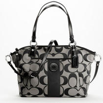 Coach Signature Stripe Black/silver Pocket Tote Retails 328.00 Photo