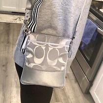 Coach Signature Stripe Blue Grey Jacquard Swingpack Crossbody Slim Messenger Bag Photo