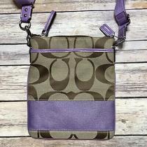 Coach Signature Stripe Khaki & Lavender Canvas Crossbody Bag Purse Photo