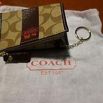 Coach Signature Stripe Khaki Mahogany Brown Wristlet  Photo