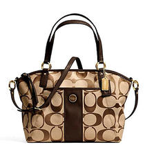 Coach Signature Stripe Khaki/mahogany Pocket Tote Retails 328.00 Photo