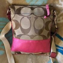 Coach Signature Stripe Khaki & Pink Canvas Crossbody Bag Purse Photo
