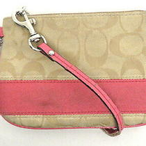 Coach Signature Stripe Khaki & Pink Wristlet Wallet Purse Photo