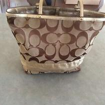 Coach Signature Stripe Khaki Tote Handbag Shoulder Bag 10125 Photo